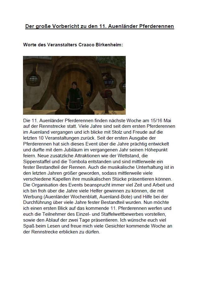 Sonderveröffentlichung von Herr Craaco Birkenheim – Vorbericht zum AuenländerPferderennen