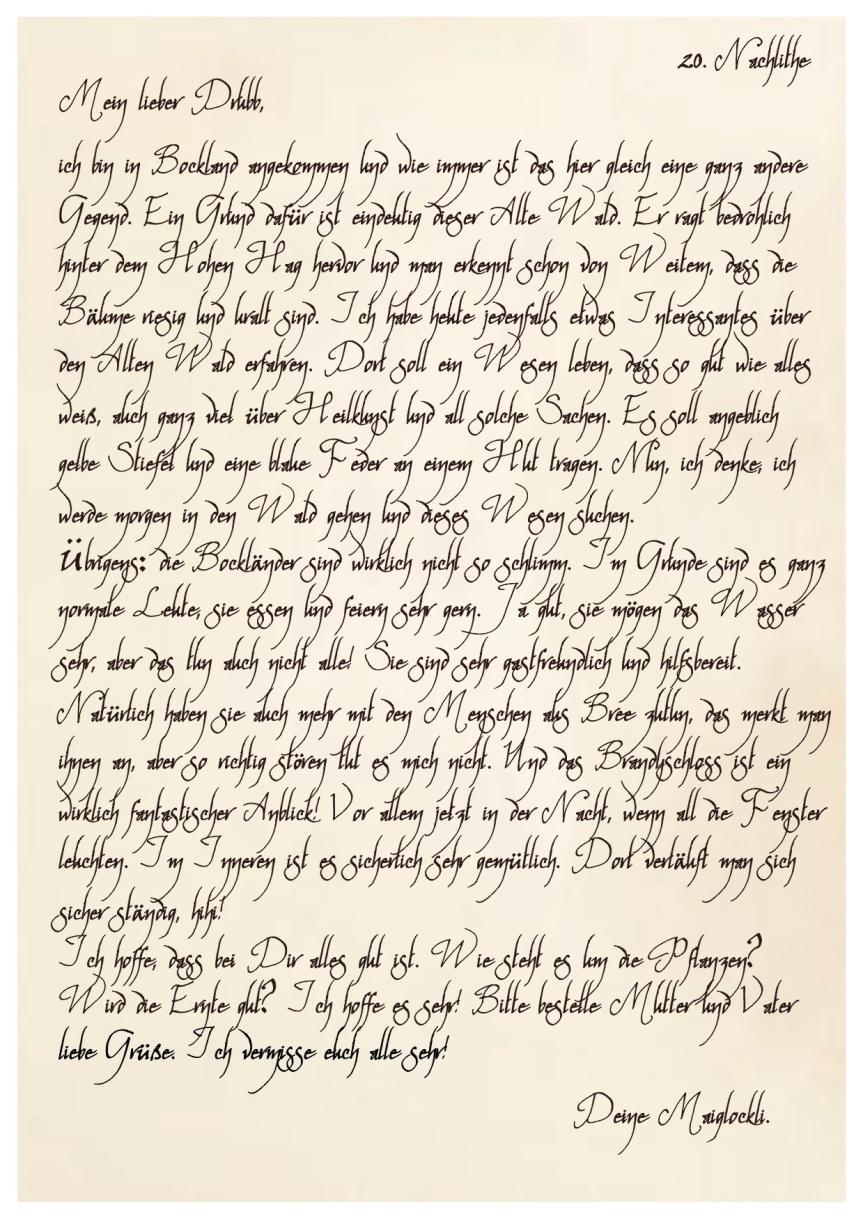 Briefe von Maiglockli Honighain an ihren Bruder Drubb(2)